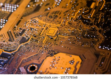 A printed circuit board (PCB) connects electronic or electrical components using conductive tracks, from copper. Transistors, diodes, IC chips, resistors, connectors and capacitors are soldered on.
