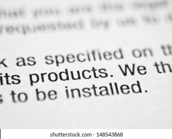 Printed document closeup with the word PRODUCTS.