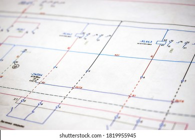 Printed electrical diagram. Design concept, electronics and engineering. Wiring diagram, close-up.