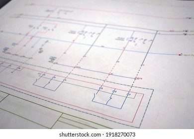 Printed electrical diagram. Electrical equipment connection diagram, technological design