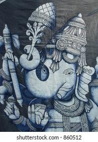 printed ganesha idol on a piece of cloth