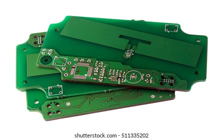 printed green computer circuit board  on white isolated background