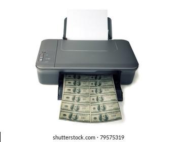 Printed money on white background