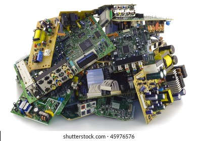 Printed-circuit boards of various electronic systems prepared for processing. Isolated on white.