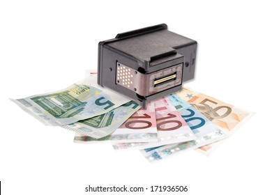 Printer cartridge and euro banknotes isolated over a white background / Printer Cartridge Recycling