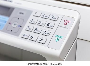 Printer and fax control panel. Closeup