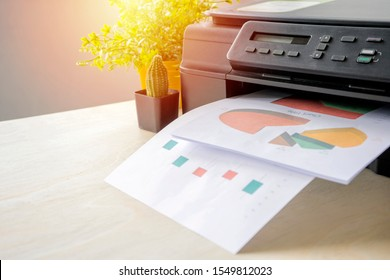 The printer is fully functional,Located on the desk. Is important in the office to present the work and success of the work.