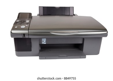 Printer on isolated white background. Clipping path included