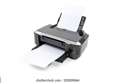Printer and paper isolated on white background