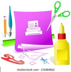 Printer. Paper template. Raster illustration.