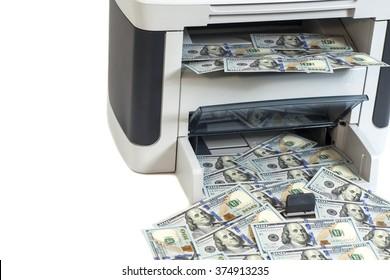Printer printing fake dollar bills isolated on white background