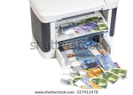 Printer Printing Fake Swiss Francs Currency Stock Photo
