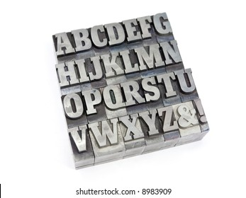 Printers blocks with english alphabet. Upper case letters.