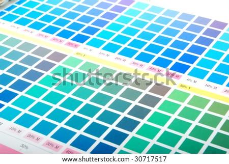 Printers Color Chart Closeup Green Cyan Stock Photo Edit Now