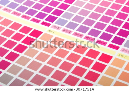 Printers Color Chart Closeup Red Purple Stock Photo Edit Now