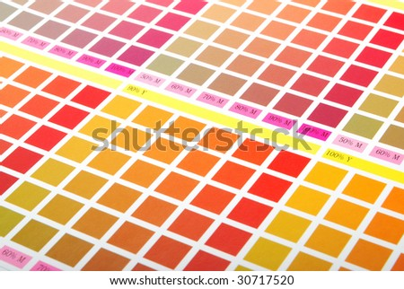 Printers Color Chart Closeup Red Orange Stock Photo Edit Now