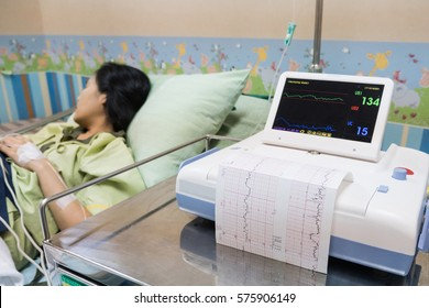 Printing of cardiogram report from Electrocardiograph. For baby health check up. Prepare for bring forth