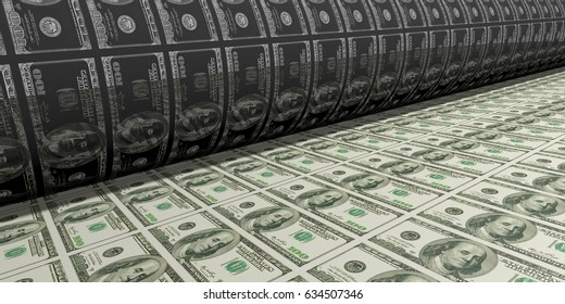 Printing Money. Metal press. 100 Dollar Bills closeup. 3D Rendering