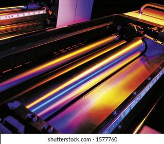 Printing press rollers.