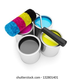 Printing technologies. CMYK colors, roller lies on the banks of paint on a white background
