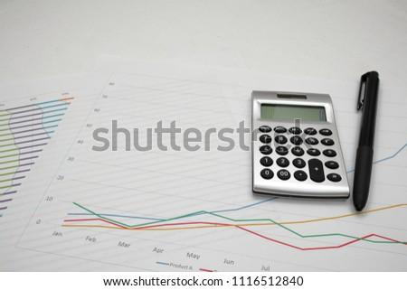 printout paper graph calc pen on stock photo edit now 1116512840