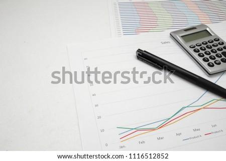 printout paper graph calc pen on stock photo edit now 1116512852