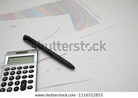 printout paper graph calc pen on stock photo edit now 1116512855