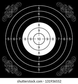 printout of a wall target for shooting with some gothic decorations