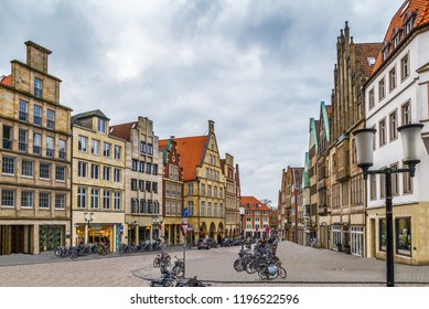 Prinzipalmarkt is historic street with buildings with picturesque pediments attached to one another in Munster, Germany