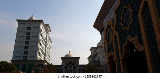 Priok, Jakarta - September 15, 2019: The architecture of the Islamic Center Mosque in Tanjung Priok.This mosque has become a spiritual tourism destination that has unique and extraordinarily ornaments
