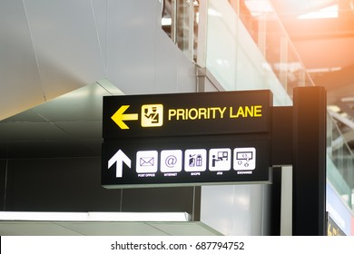 Priority Lane  and infomation Sign in Airport