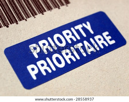 Priority Mail Label On Letter Envelope Stock Photo (Edit Now