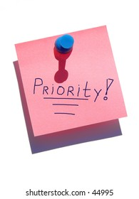 Priority note on white background