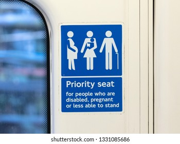 Priority seat in the London metro, public transport in London