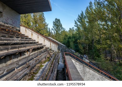 Pripyat abadoned stadium all covered in nature