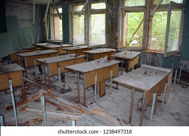 PRIPYAT CHERNOBYL UKRAINE 09 03 17: School in Ghost City of Pripyat exclusion Zone of Chernobyl accident dominates the energy of most disastrous nuclear power plant accident in history,