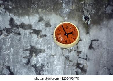 PRIPYAT CHERNOBYL UKRAINE 09 03 17: School clock in Ghost City of Pripyat exclusion Zone of Chernobyl accident dominates the energy of most disastrous nuclear power plant accident in history,