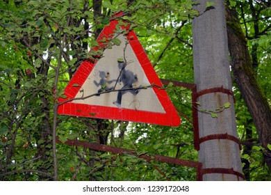 PRIPYAT CHERNOBYL UKRAINE 09 03 17: School crossing sign in Ghost City of Pripyat exclusion Zone of Chernobyl accident dominates the energy of most disastrous nuclear power plant accident in history,