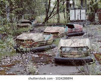 PRIPYAT, CHERNOBYL/UKRAINE - 10 05 15: Pripyat exclusion Zone of Chernobyl Amusement park in Pripyat. Bumper cars