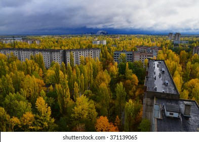 Pripyat city from the height of the autumn. Chernobyl