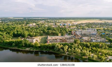The Pripyat River flows in the town of Narovlya, Gomel region. Belarus.