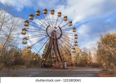 Pripyat, Ukraine. A never opened Ferris Wheel in Amusement park in abandoned city of Pripyat in Chernobyl exclusion zone in Ukraine.