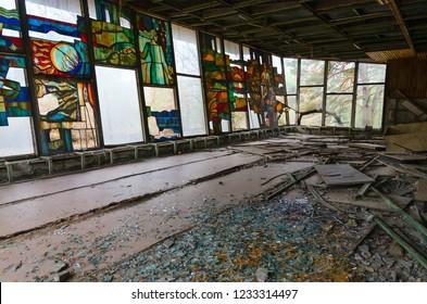"PRIPYAT, UKRAINE - NOVEMBER 11, 2018: Cafe ""Pripyat"" on embankment in abandoned ghost town of Pripyat, Chernobyl NPP alienation zone, Ukraine"