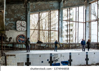 PRIPYAT, UKRAINE - NOVEMBER 11, 2018: Rusty vending  swimming pool in  dead abandoned ghost town of Pripyat, Chernobyl NPP exclusion zone, Ukraine