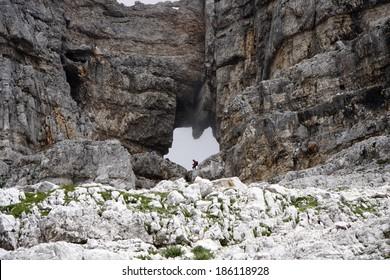 """Prisojnik Okno, a """"window"""" in a rock in the Julic Alps, Slovenia. - Shutterstock ID 186118928"""