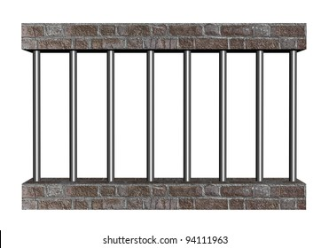 Prison bars isolated on white