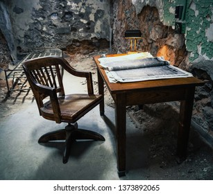 Prison Cell in Eastern State Penitentiary, Philadelphia, Pennsylvania, USA, 06/28/2014