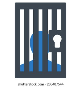 Prison icon from Business Bicolor Set. Glyph style: bicolor flat symbol, smooth blue colors, rounded angles, white background.
