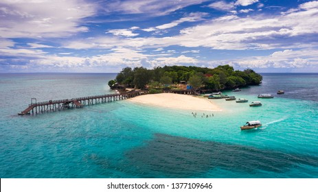 Prison Island, Zanzibar / Tanzania - April 07 2019: Prison Island or Changu Island tour in Zanzibar tourist destination.