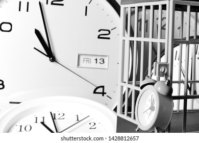 A Prison Jail Alarm Lock, Showing a Cell Door Time Piece with a Blurred 11th Hour Friday 13th Date.